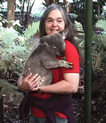 Dr. Jean Meade, DVM, MD, PhD and a koala
