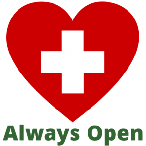 Red heart icon w/text: Always Open